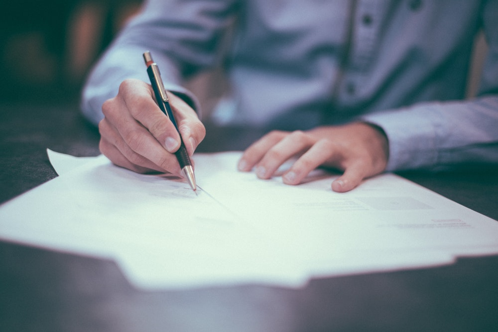 Is the office lease contract notarized or not?